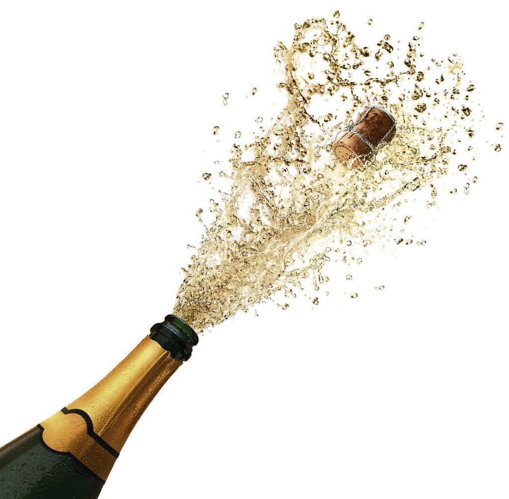 Champagnersplash vor weiss
